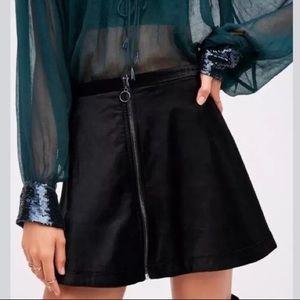 Free People Full Zipper Velvet Mini Skirt